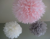 Age of Innocence - 3 Tissue Pom Kit - Feathery Pink and Soft Gray Paper Flowers - Portland Original