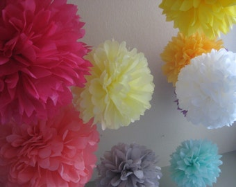 30 Tissue Paper Pom Poms Kit - Custom Colors - Wedding Reception - Engagement Photo - Anniversary - Party Prom Portland - As Sold at BHLDN