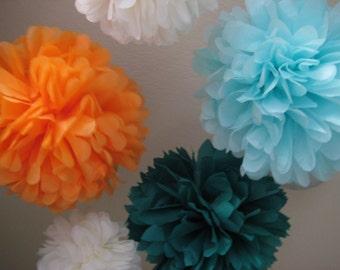 SALE 10 Tissue Papered Pom Pom Kit - Pick Your Colors - Custom DIY Kit - Backdrop Photobooth Flip Book Nursery Gender Neutral
