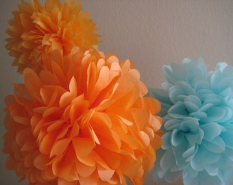 SALE - 5 Tissue Pom Pom Decoration Graduation Party - DIY Decor Kit - Custom Pick Your Colors