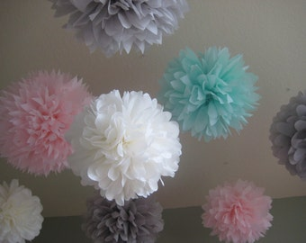 Ice Cream Shoppe - 10 Tissue Paper Pom Poms - First Birthday Decoration Party - Candy Bar Backdrop - Newborn Photograph