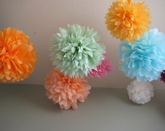 SALE - 5 Tissue Pom Kit - Pick your colors - As Seen in Gossip Girl