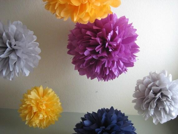 Cocktail Hour - 5 Tissue Papered Pom Poms - DIY Decoration Kit - Gender Reveal Party
