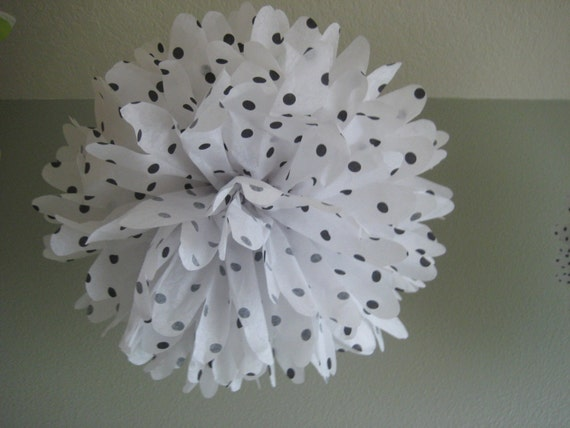 Big Dots Black and White Tissue Flower - 1 Large Tissue Pom DIY Kit - Portland Original - First Birthday Sweet Sixteen Shower
