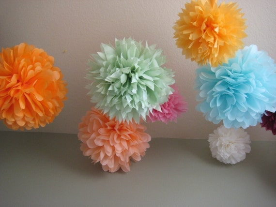 SALE - As Seen on Gossip Girl - 20 Tissue Pom Kit - Pick your colors - Portland Original