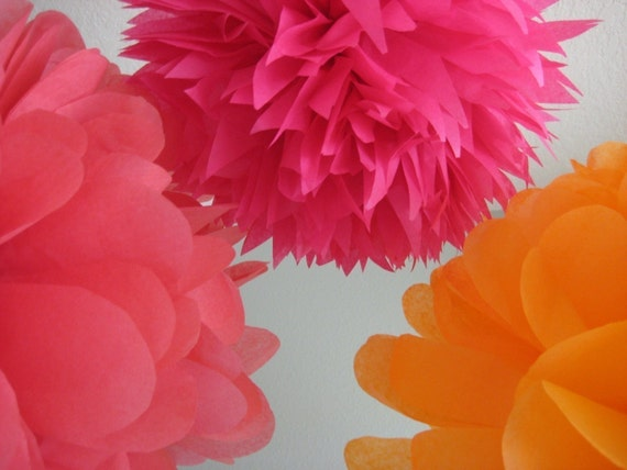 7 Tissue Paper Pom Poms Decoration - Milestone Birthday - Sweet 16 - Dancefloor Chandelier