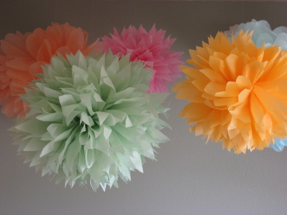 10 Mixed Sizes Tissue Paper Poms - Pick your colors - Portland Original - Photobooth Backdrop - Newborn Photography