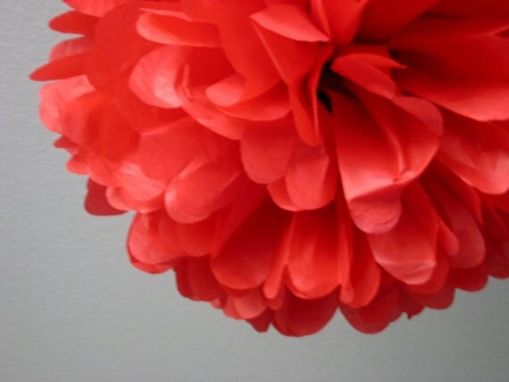 Red - 1 Tissue Paper Pom Pom - Valentine's Day DIY Decor Kit - Portland Original - BHLDN - Chinese New Year - Christmas Winter Holidays