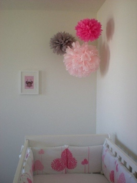 Items similar to 9 tissue pom flowers diy decor kit pick for Hanging pom poms from ceiling