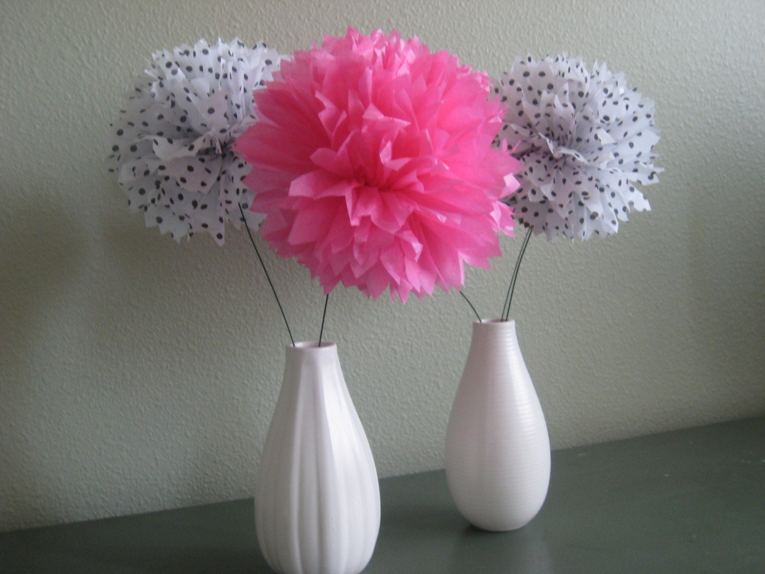5 Pomettes Mini Tissue Pom Flowers By Prosttothehost On Etsy