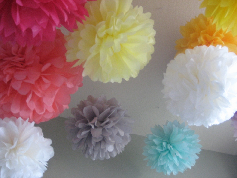50 tissue paper pom poms decoration holiday by prosttothehost. Black Bedroom Furniture Sets. Home Design Ideas