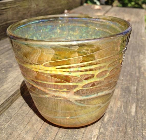 Blown GlassGold Bowl Colorful Shine