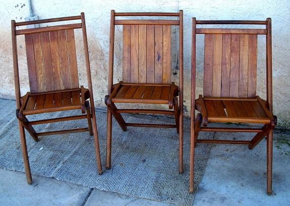 Vintage Solid Oak Wood Wooden Antique Folding Chair