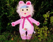 Plush Doll featured in STUFFED magazine - Quirky Kid in Designer Plush Bear Costume (cupcake patches)- Patty Cake