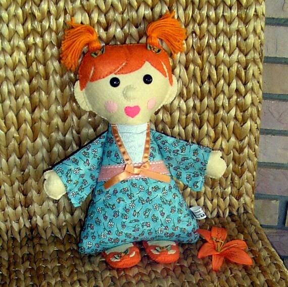Kimono Kids Doll - felt and fabric (Heidi) Original Design--many hand sewn details - ready to ship