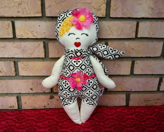Marilyn - Vintage Babes doll - Handmade - cloth rag doll glamour - pin up girl - blonde with bold black and white boy leg outfit