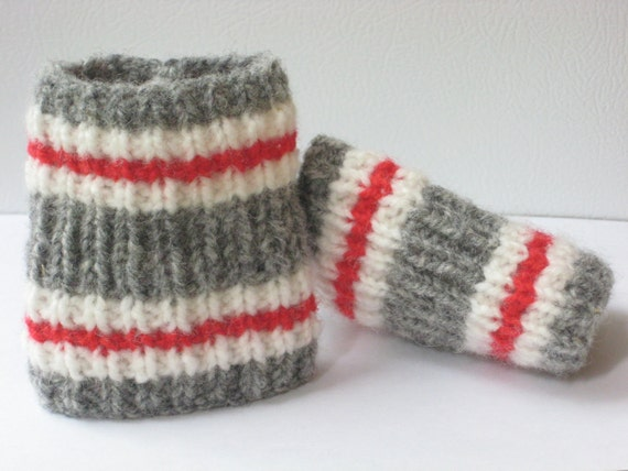 Knitting Pattern For Rubber Boot Socks : Hand Knit Wool Cuffs or Boot Toppers.