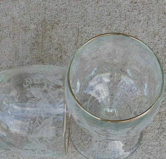 Vintage Bartlett Collins Clear Drinking Glasses Stemed Goblets/ Frosted Ivy Leaf Etching/ Gold Rim Mothers Day Spring