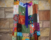 Custom Made Festival Skirt Upcycled Fabric Patchwork Drawstring Hippie Eco Friendly  Toddler to XX Large Adult Any Size