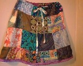eco friendly custom made upcycled patchwork drawstring skirt any size Let's design something beautiful to suit your own personal style!