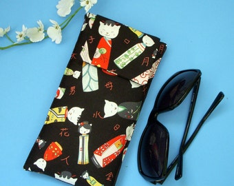 Sunglasses Case in Japanese Fabric Featuring Kitty Kokeshi Dolls in Kimonos