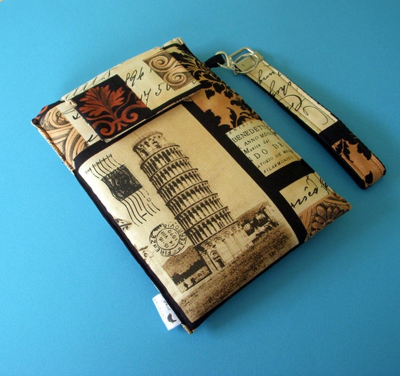 Kindle, Nook, Kobo, Sony Fabric Cover With an Italian Theme and Removable Key FOB Wristlet