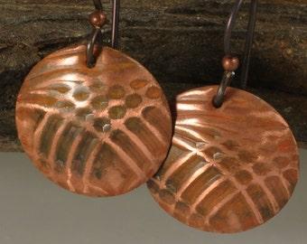 Earthy Copper Earrings, Copper Disk Earrings, Copper Earrings, Organic Copper Earrings