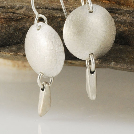 Textured Disk and Triangular Drop Sterling Silver Earrings