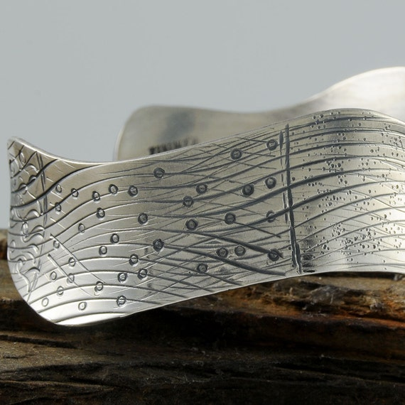 Receding Ocean Waves Recycled Sterling Silver Cuff One of a Kind