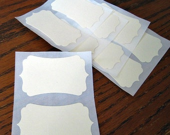 Ivory Sticker Labels Cardstock Bracket Custom