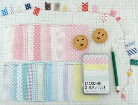 Masking Sticker Set Tin Pastel