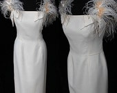 For Sale Vintage Lilli Diamond 50s 60s Maribou Feathers Wiggle Party Wedding Bridal Cocktail Crepe Bombshell Dress