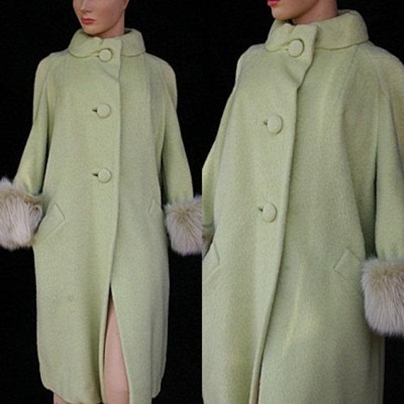 For Sale Vintage 50s 1950s New Look 60s Chartreuse Mohair Lilli Ann Tisse a Paris Swing Wool Mink Dress Coat