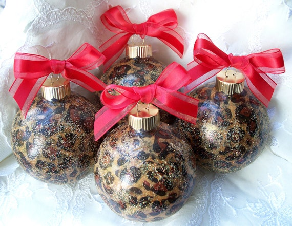 Animal print round glass christmas ornaments with red bows
