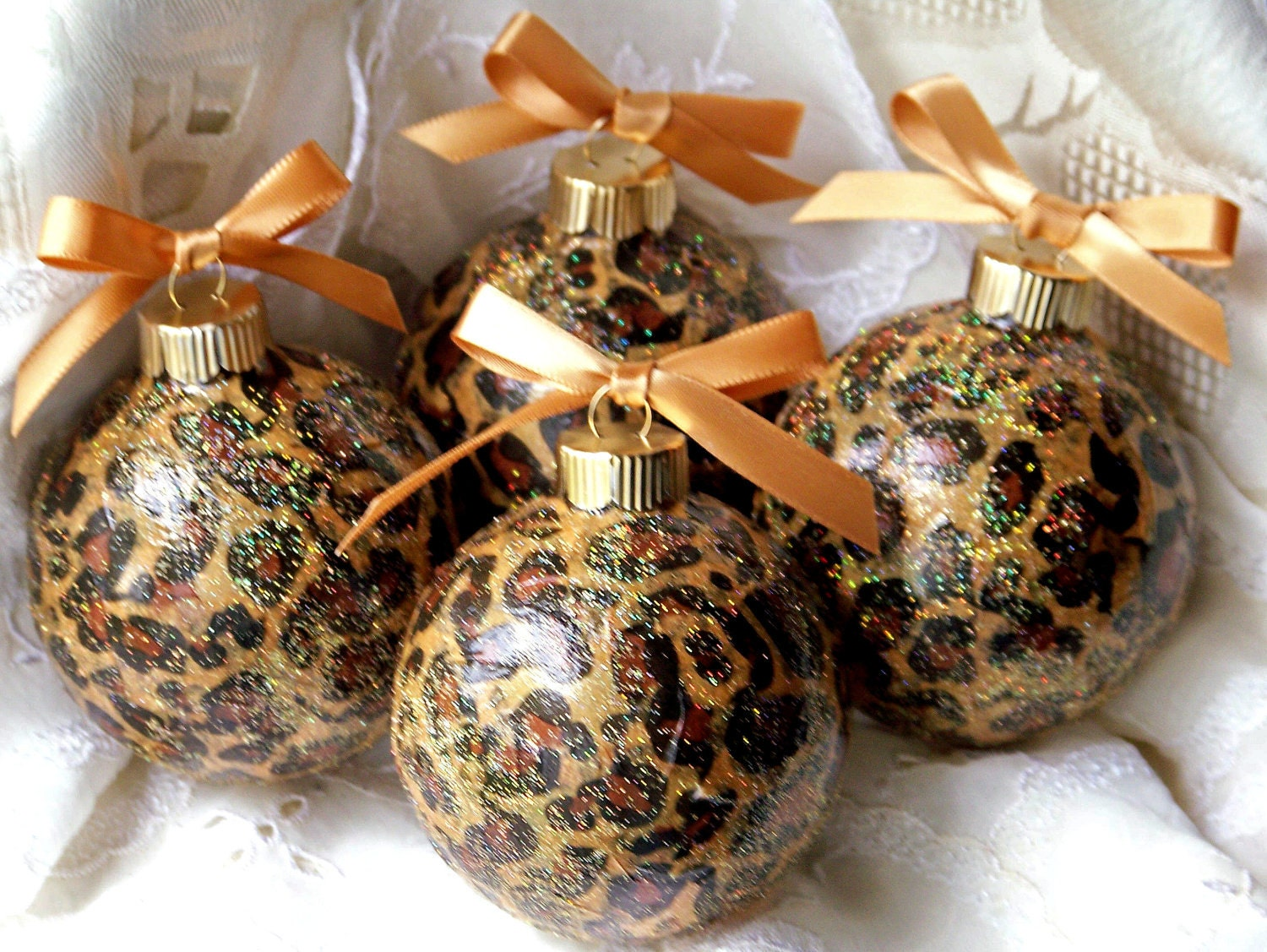 Leopard Animal Print Glass Christmas Ornaments by SimpleOfferings