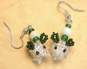 Beaded Snow Bunny Earrings