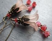 Pink Flower Earrings Flamingo Pink Earrings Bridal Bridesmaid Wedding