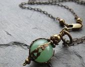 Green Aventurine Necklace Safe Traveller Pendant Moss Green Natural Stone