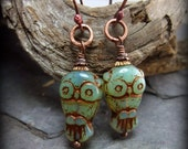 Owl earrings, jade green, copper,  Bird Earrings, Kappa Kappa Gamma Chi Omega, Owl Mascot, Graduation Gift