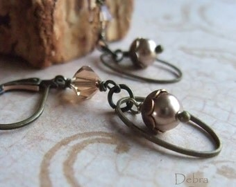 Smokey Topaz Pearl Earrings Taupe Bronze Vintage Style Antique Brass