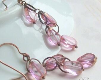 Pink Earrings, Pink Teardrop Earrings, Long Earrings, Copper Earrings, Clip on Earrings