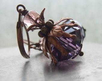 Amethyst Earrings, Gift for Gardener, Leverback earrings, Clip on Earrings, Amethyst Drop Earrings, Copper Earrings, Thistle Berry Earrings