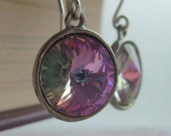 Swarovski Crystal Earrings, Rainbow earrings, sterling silver earwires, Easter Jewelry