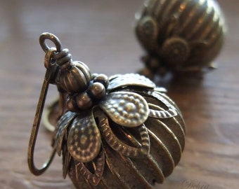 Gourd Earrings Brass Harvest Gourd Antique Brass Fall Fashion Vintage Style