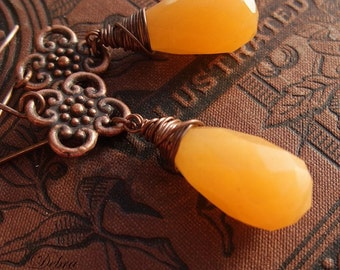 Orange Earrings Pumpkin Orange Copper Wire Wrapped Papaya Jade Faceted Teardrops Papaya Juicy-Licious Teardrops