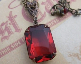 Red Estate Style Necklace, Hollywood Glam, Ruby Red, Bridal Jewelry, Bridesmaid, Valentine's Day