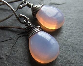 Pink Opal Earrings, Opal Earrings, Wire wrapped, sterling silver