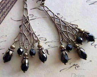 Black Chandelier Earrings Crystal Eiffel Tower Earrings Evening Eiffels
