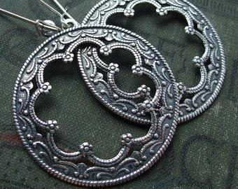 Silver Hoop Earrings Bohemian Style Hoops Antique Sterling Silver Plated Hoop