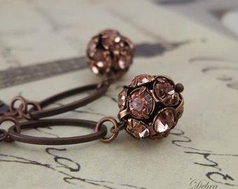Peach Earrings, Rhinestone Peach Earrings, Rustic, Copper, Cowgirl